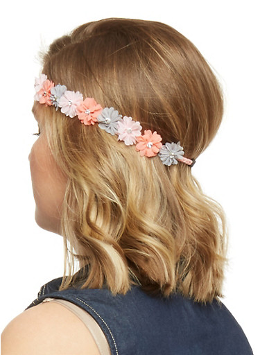 Floral Crown Head Band with Rhinestone Accents,GREY,large