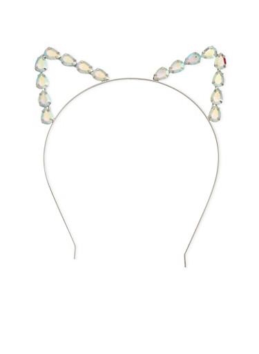 Rhinestone Trimmed Cat Ear Headband,SILVER,large