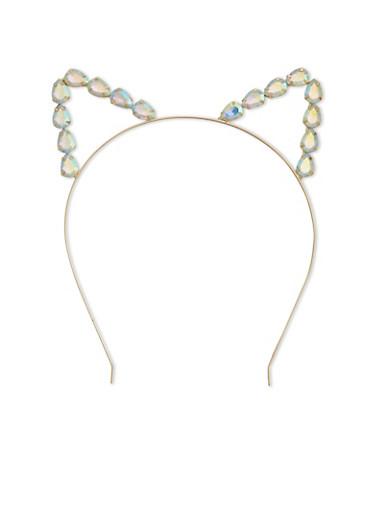 Rhinestone Trimmed Cat Ear Headband,GOLD,large