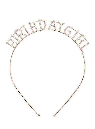 Rhinestone BIRTHDAY GIRL Metal Headband,GOLD,large