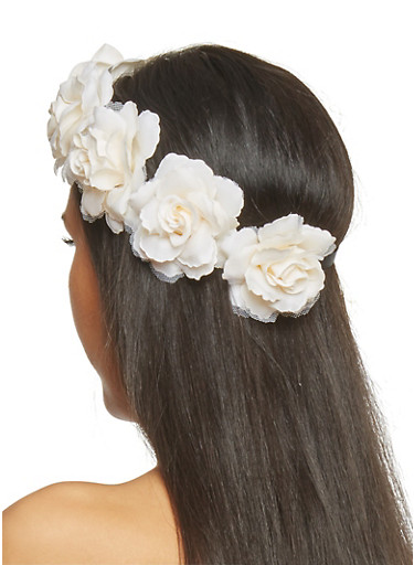 Rose Crown Head Band,IVORY,large