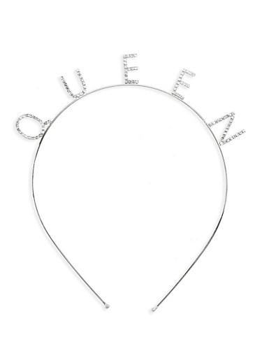 QUEEN Rhinestone Metal Headband,SILVER,large