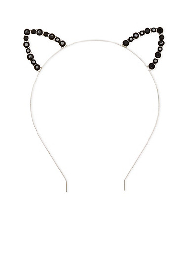 Rhinestone Cat Eat Hear Headband,SILVER,large