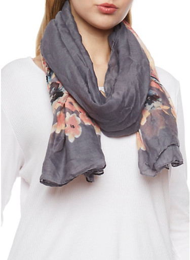 Square Floral Scarf,CHARCOAL,large
