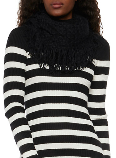 Infinity Scarf in Fringed Waffle Knit,BLACK,large