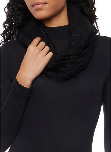 Infinity Scarf in Textured Knit,BLACK,large
