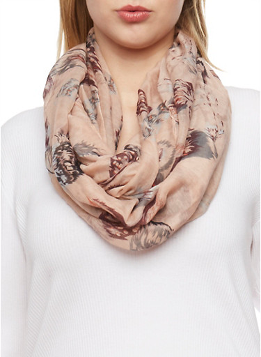 Feather Printed Infinity Scarf,MULTI COLOR,large