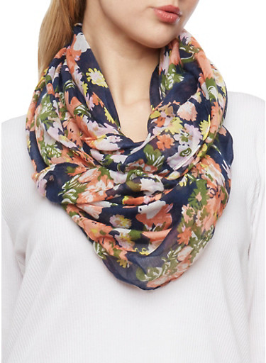 Floral Infinity Scarf,NAVY,large