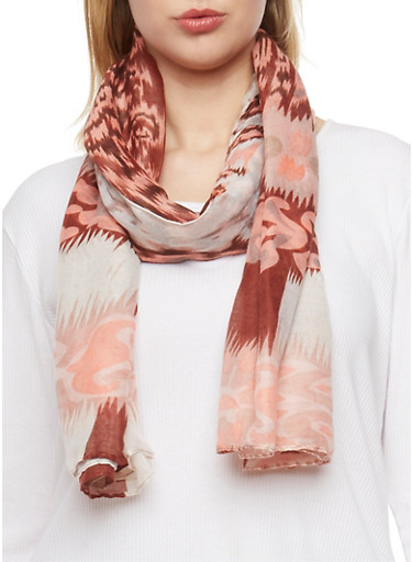 Square Abstract Print Scarf,CORAL,large