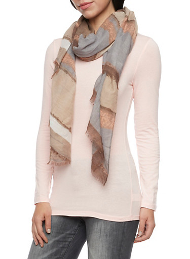 Striped Gauze Scarf,TAUPE/MULTI,large