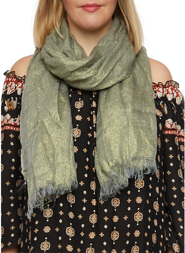Metallic Scarf,GREEN,large