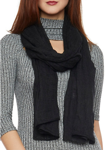 Long Gauze Scarf,BLACK,large
