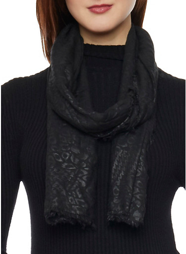 Linen Scarf with Subtle Animal Print,BLACK,large