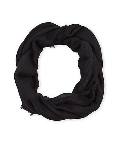 Fringe Gauze Infinity Scarf with Shimmer Stripes,BLACK,large