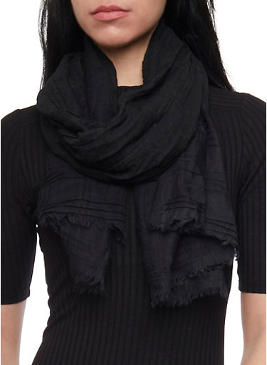 Solid Scarf with Fringe,BLACK,large