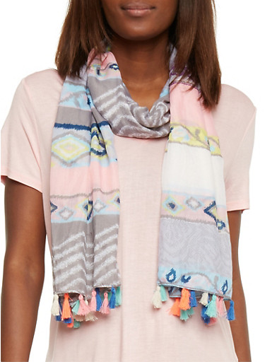 Multi Color Aztec Print Tassel Fringe Scarf,GRAY/PINK,large