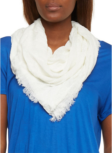 Square Mesh Scarf with Frayed Edges,WHITE,large