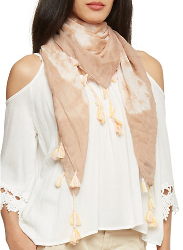 Square Tie Dye Scarf with Tassel Fringe,TAN,large