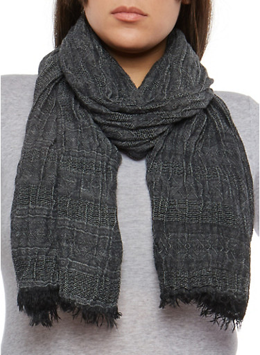 Pleated Fringe Scarf,BLACK,large