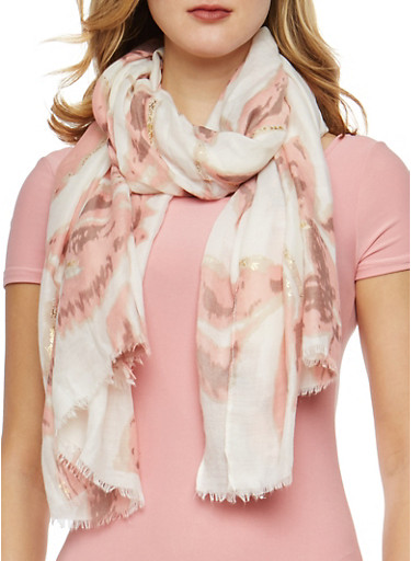 Floral Foil Accent Scarf,WHITE,large