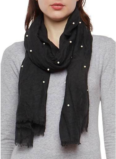Faux Pearl Scarf,BLACK,large