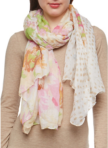 Floral Lightweight Scarf,IVORY,large