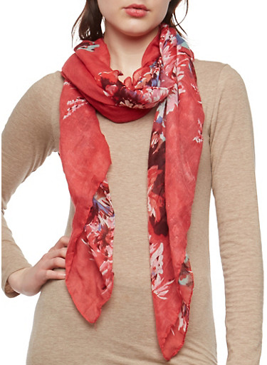 Red Lightweight Floral Scarf,RED,large