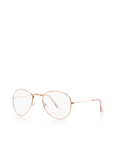 Clear Textured Metallic Bridge Aviator Glasses,ROSE,large