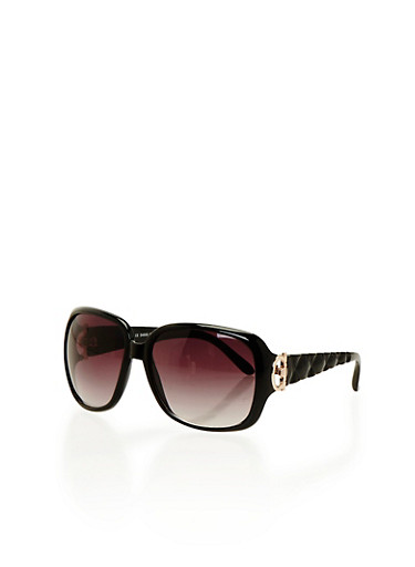 Square Sunglasses with Textured Arms,BLACK,large