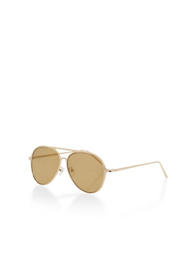 Flat Frame Aviator Sunglasses,GOLD,large