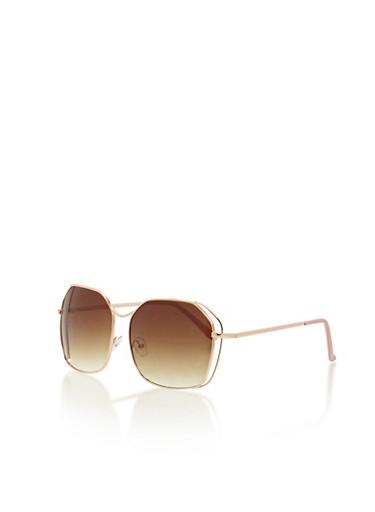 Oversized Square Mirror Sunglasses,ROSE/GOLD,large