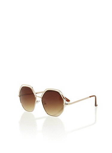 Brow Lined Hexagon Lens Sunglasses,BROWN/GOLD,large