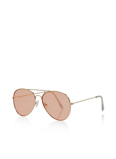 Metallic Frame Colored Lens Aviator Sunglasses,PINK,large