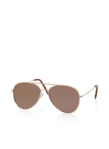 Mirrored Lens Aviator Sunglasses,PURPLE,large