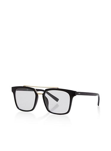 Square Top Bar Glasses,BLACK/GOLD,large