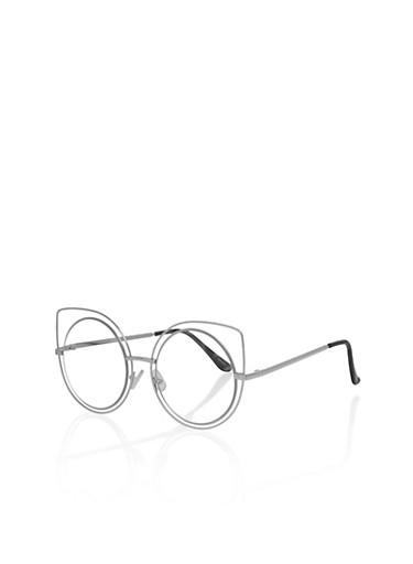Metallic Double Rim Cat Eye Glasses,SILVER,large