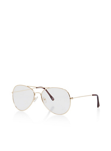 Clear Aviator Glasses,GOLD/CLEAR,large
