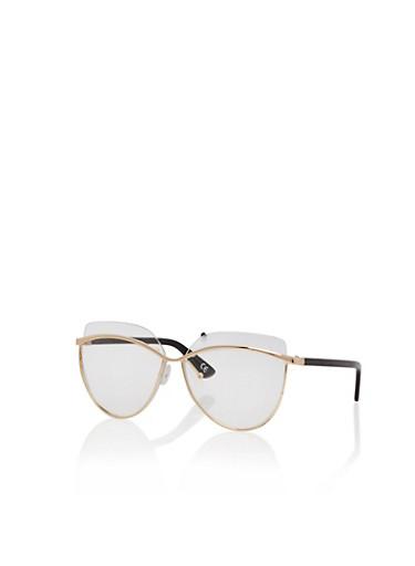 Oversized Lens Metallic Frame Glasses,GOLD/CLEAR,large