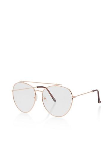 Clear Aviator Top Bar Glasses,ROSE,large