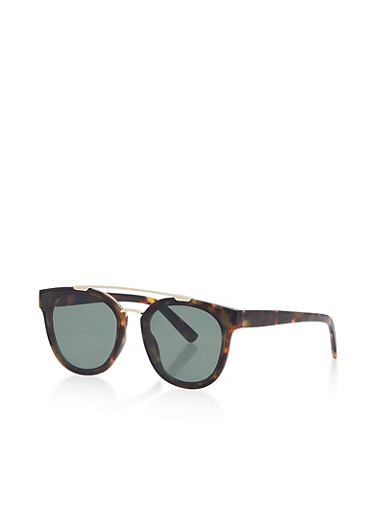 Metallic Top Bar Round Sunglasses,TORT,large