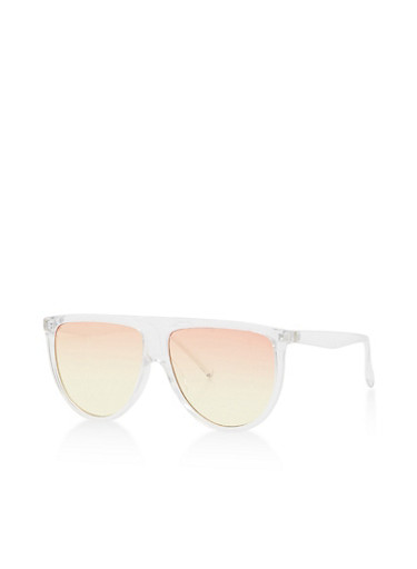 Plastic Shield Sunglasses,CLEAR/OCEAN,large