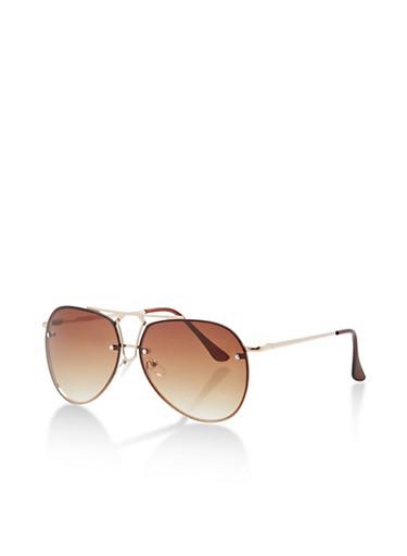 Rimless Top Bar Aviator Glasses,BROWN/GOLD,large