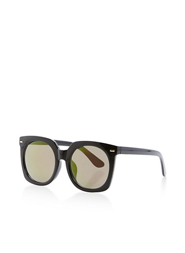 Geometric Plastic Sunglasses,BLACK,large