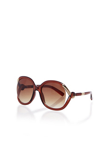 Oversized Square Sunglasses with Metal Loop Temples,BROWN,large