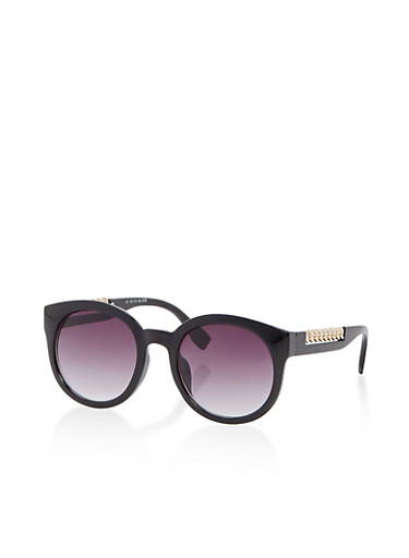 Two Tone Chain Detail Round Sunglasses,BLACK,large