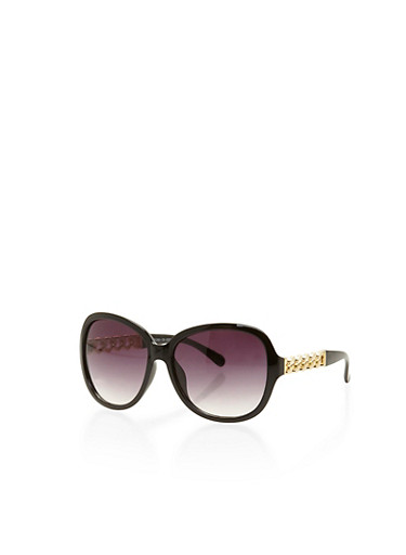 Oversized Chain Link Sunglasses,BLACK,large