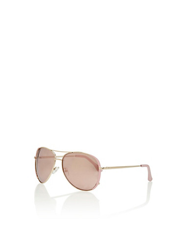 Top Bar Aviator Sunglasses,BLUSH/PINK MIRROR,large