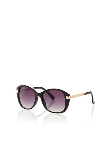 Round Sunglasses With Metal Arms,BLACK,large