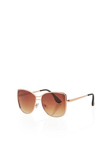 Metallic Top Bar Oversized Sunglasses,ROSE,large