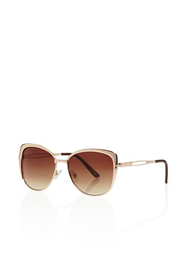 Thick Metal Frame Sunglasses,GOLD,large